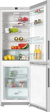 KFN 28032 D edt/cs - Freestanding fridge-freezer with Frost free and Dynamic cooling for highest convenience and versatility.--Stainless steel/CleanSteel