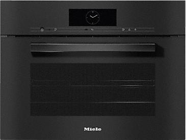 DGC 7845 - XL Steam combination oven with mains water and drain connection for steam cooking, baking, roasting with wireless food probe + menu cooking.--Obsidian black